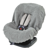 Grey Terrycloth Baby Car-Seat Cover with  .  s - Suitable for Group 0+ and 1 Car Seats