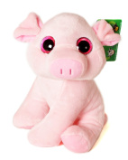 "ANIMALS ON THE FARM - Plush Toy pink Piggy with bright eyes (10""/26cm) - Super Soft Quality"