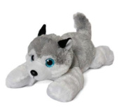 "Plush toy husky dog white and grey with bright eyes 16""/41cm Super soft Quality"