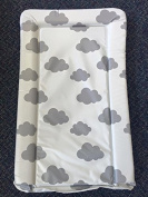 Deluxe Unisex Baby Waterproof Changing Mat with Raised Edges - Unique Grey and White Cloud Design