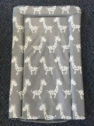 Deluxe Unisex Baby Waterproof Changing Mat with Raised Edges - Unique Grey and White Giraffe Design