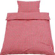 Parure de lit style campagnard à carreaux rouge 100 x 135 cm et taie 40 x 60 cm en coton à carreaux de 1 cm avec fermeture éclair durchgewebt