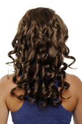 WIG ME UP ® Hairpiece Halfwig (half wig) 7 Microclip Clip-In Extension curly curls very long & full golden warm medium brown50 cm H9503-12