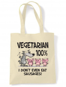 Vegetarian Big Bad Wolf Cotton Shoulder Shopping Bag