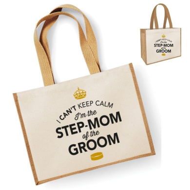 Step Mom Of The Groom Gift, Step Mom Of The Groom Bag, Tote Bag, Step Mom Of The Groom Keepsake, Grooms Step Mom, Step Mom Of The Groom (Natural)