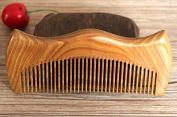 100% Hand Made Green Sandalwood M Shape Comb, Sandal Wood Comb anti static 12.5cm