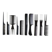 Tonsee 10Pcs Black Pro Salon Hair Styling Hairdressing Plastic Barbers Brush Combs Set
