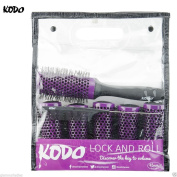 Kodo Lock and Roll 45mm Brush Set Sytem, 6 Barrels, 1 locking handle and 1 pin tale comb, Brush Gift Set