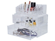 FiNeWaY@ LARGE ACRYLIC 4 DRAWER MAKEUP JEWELERY COSMETIC STORAGE DISPLAY ORGANISER HOLDER