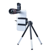 Apexel 5-in-1 Camera Lens with Universal Clip and Mini Extensible Tripod for Smartphones and Tablet etc - Black