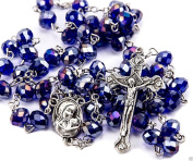 Purple Blue Beads Crystals Rosary Catholic Necklace Holy Soil Medal & Crucifix