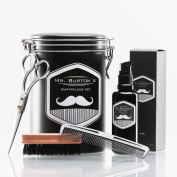 "High-quality beard care set - including Mr Burton's Beard Oil ""pure"", beard brush, scissors and comb - the perfect gift or birthday present for men and beard-wearers."