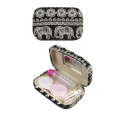 SwirlColor Bohemia Elephant Print Contact Lens Case Contact Lens Travel Case with Mirror
