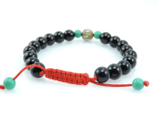 Hands Of Tibet Tibetan Mala Black Onyx Wrist Bracelet With Carved Om Mani Conch Shell And Turquoise Spacer For Meditation