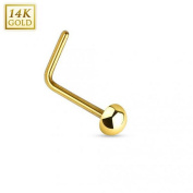 14Kt. Gold L Bend Nose Ring Solid Dome End - Size