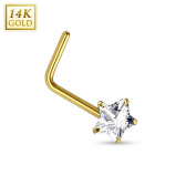 14Kt. Gold L Bend Nose Ring with Prong Set Star CZ- Size