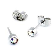 Rainbow AB crystal gem Surgical steel stud earrings (Fits standard Ear Piercing) gauge 0.7mm