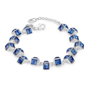 Edmond Bracelet Women & Girls Jewellery Sterling Silver 925 PLATED with Cute Blau Zircon Bracelet Perfect Fashion Gift for any Occasion Elegant