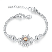 Bracelet Women & Girls Jewellery Sterling Silver 925 PLATED Snowflake Zircon Bracelet Perfect Fashion Gift for any Occasion Elegant
