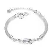 Bracelet Women & Girls Sterling Silver 925 PLATED Feather Style Bracelet Perfect Fashion Gift for any Occasion Elegant