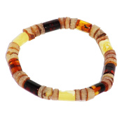 Polished and unpolished Amber tube bead Bracelet 1802, Comes with lovely gift box.
