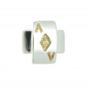 Silver Plated Enamel Cabouchon Ace of Diamonds Pin Brooch