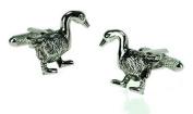 Onyx-Art CK566 Farm Animal Goose Shaped Metallic Cuff Links plus FREE Premier Life Store Pen