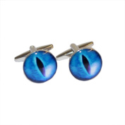 Round Blue Snakes Eye Design Cufflinks X2BOC189