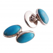 Turquoise cufflinks in sterling silver - Stone size 10x14mm