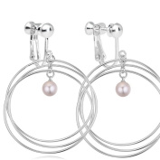 Women Simulated-pearls Screw Back Clip on Earring Non-Pierced Circle White