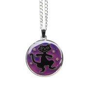 MOOD COLOUR CHANGE DANCING CAT UNDER STARS PENDANT NECKLACE