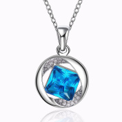 Edmond Necklace Women & Girls Jewellery 18K White Gold PLATED Necklace Zircon with Blue Zirkon Collar Perfect Fashion Gift for any Occasion Love Gift Cute Elegant