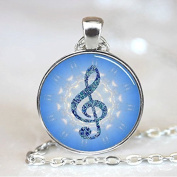 Music Note Blue Treble Clef Handcrafted Necklace Pendant