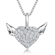 JOOLS Silver Pendant Cubic Zirconia Pave Set Heart With Wings