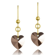 Gold Plated 925 Sterling Silver & Rose Gold Heart. Elements Crystal Drop Hook Earrings
