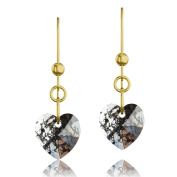 Gold Plated 925 Sterling Silver & Black Patina Heart. Elements Crystal Drop Hook Earrings