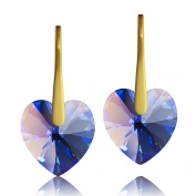 Gold Plated 925 Sterling Silver & Sapphire Heart. Elements Crystal Drop Earrings