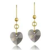 Gold Plated 925 Sterling Silver & Black Diamond Heart. Elements Crystal Drop Hook Earrings