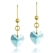 Gold Plated 925 Sterling Silver & Light Turquoise Heart. Elements Crystal Drop Hook Earrings
