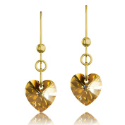 Gold Plated 925 Sterling Silver & Gold Sunshine Heart. Elements Crystal Drop Hook Earrings
