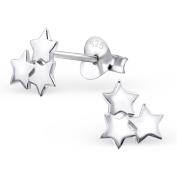 Laimons - Stud Earrings - Women - 925 Sterling Silver - Stars - Shiny