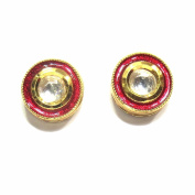 Jewelshingar Jewellery Gold Plated Earrings In Red Colour For Women