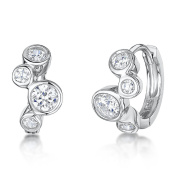 JOOLS Silver Earrings 'Huggie' Style Pave Set With Cubic Zirconias