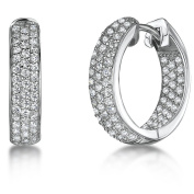 JOOLS Silver Earrings 'Huggie' Style With Cubic Zirconia Pave Set Hoops