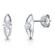JOOLS Silver Earrings Marquis Shaped Stud Earring With A Middle Set Single Cubic Zirconia