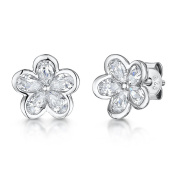 JOOLS Silver Earrings Featuring Five Cubic Zirconia Petals