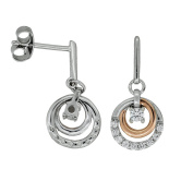 JOOLS Rose Gold And Silver Circle Drop Earring With A CZ Setting