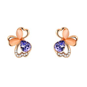 PAURO Womens Rose Gold Plated Exquisite Crystals Flower Purple Butterfly Stud Earrings Gifts for Girls