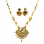 Jewellery Gold Plated Pendant Set In Blue Colour For Women