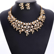 Jewellery Sets Vintage Bridal Chunky MultiColor Faux Pearl Cluster Necklace Stud Earrings